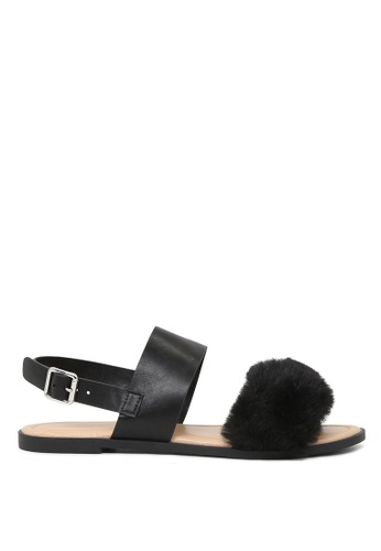 London Rag black London Rag Fanny Women's Black Fur Double Strap Slingback Flat Sandals SH1572 51EACSH9D2CA62GS_1
