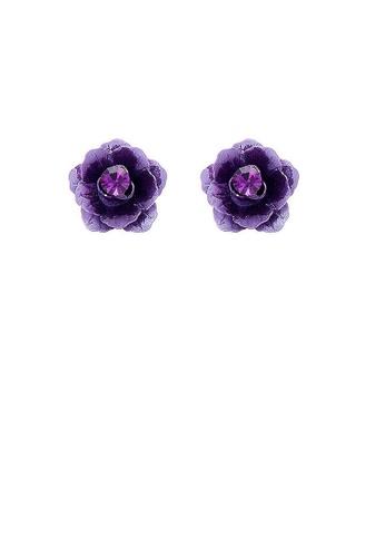 Glamorousky purple Purple Flower Earrings with Purple Austrian Element Crystals 4BDBCAC595E69CGS_1
