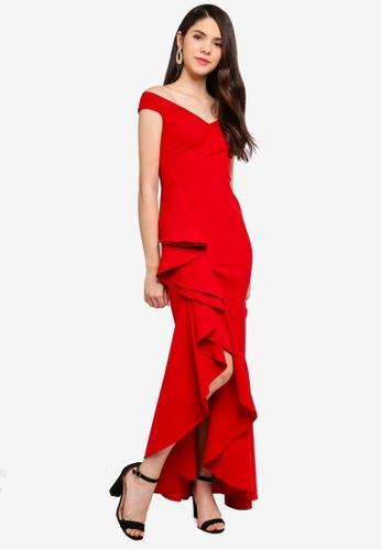 Goddiva red Off The Shoulder 360 Frill Maxi Dress 37E5AAAAF92801GS_1