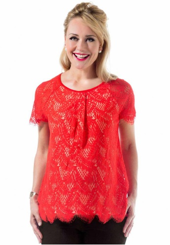 Bove by Spring Maternity red Woven Short Sleeve Carmela Lace Top Aurora B03E7AAF4DA08DGS_1