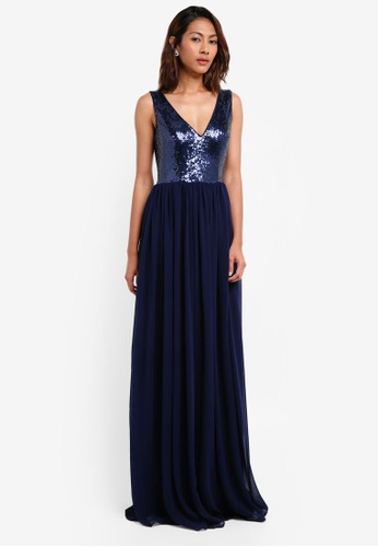 Goddiva navy V Neck Sequin And Chiffon Maxi Dress 58083AA002FB66GS_1