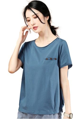 A-IN GIRLS blue Simple Stitching Short Sleeve T-Shirt 270EFAAEBF3B04GS_1