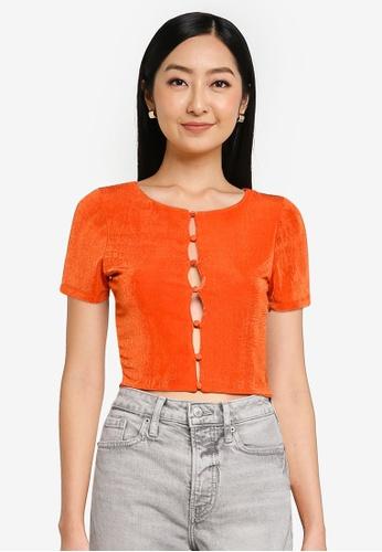 Supre 橘色 Frankie Slinky 短袖鈕釦 上衣 8BE77AA593A4ACGS_1