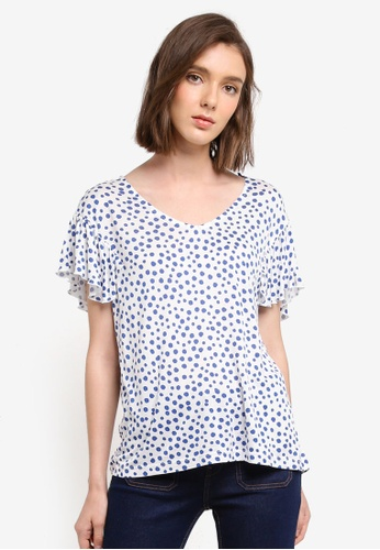ESPRIT white and blue Short Sleeve T-Shirt 3F46CAA4DCBCFDGS_1