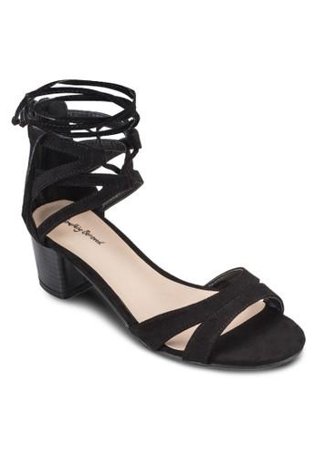 麂皮繫帶粗跟涼鞋、 女鞋、 鞋SomethingBorrowed麂皮繫帶粗跟涼鞋最新折價