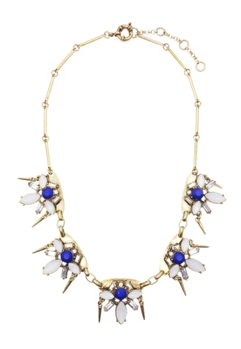 LUCCACAL white and blue Spike and Stone Necklace LU294AC24HWDMY_1