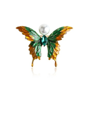 Glamorousky green Fashion and Elegant Plated Gold Green and Yellow Butterfly Imitation Pearl Brooch with Cubic Zirconia 85DC0ACD16A8ADGS_1