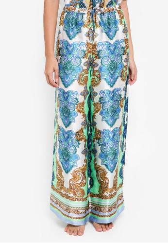 River Island green Green Print Lace Pyjama Trousers 38F58AA77F3E57GS_1