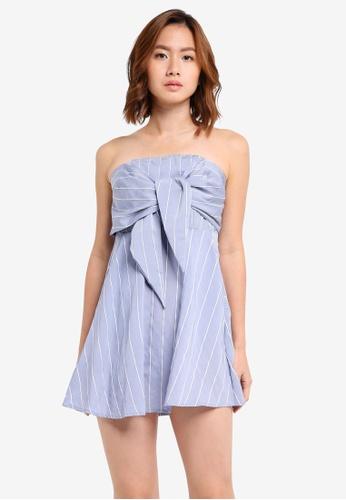 INDIKAH blue Bustier Dress With Tie Front Bow D106EAA8EC0CB4GS_1