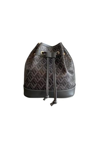 EMO black Korean fashion Brand‧Canine Pattern bucket bag - Black 044D5ACA9B367AGS_1