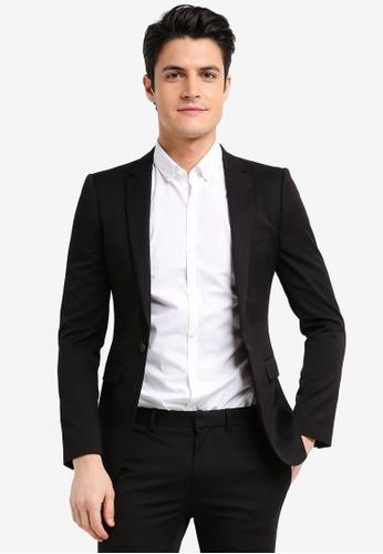 Topman black Black Ultra Skinny Fit Suit Jacket 2B485AA386B946GS_1