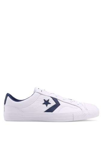 Converse white and navy Star Player Ox Sneakers CO302SH0SW6ZMY_1