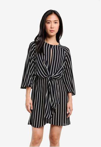 TOPSHOP black Monochrome Striped Knot Front Mini Dress TO412AA0SBQTMY_1