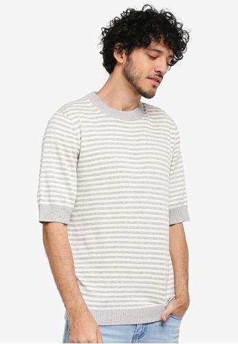ZALORA grey Stripe Short Sleeve Boxy Sweater F2E45AA690D1A1GS_1