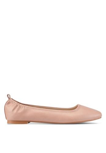 ZALORA beige Faux Leather Ballet Flats 0F36CSH3388E17GS_1
