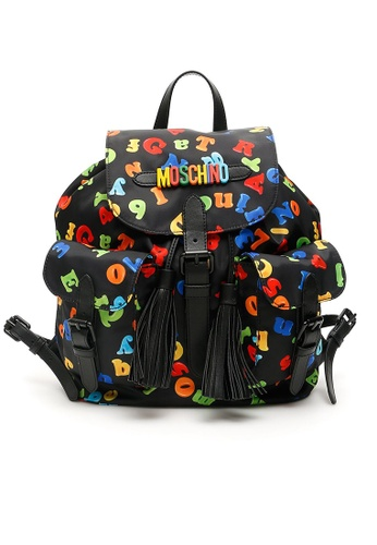 Moschino black and multi Moschino Magnets Print Nylon Backpack B7601 F5A7AACE43DC27GS_1