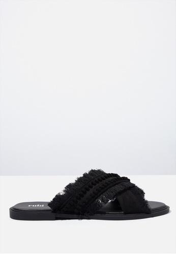 Rubi black Frankey Fancy Crossover Slide 51B43SHFD01F73GS_1