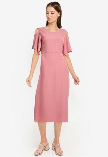 ZALORA WORK pink Cold Shoulder Dress 9C475AA61A7A85GS_1