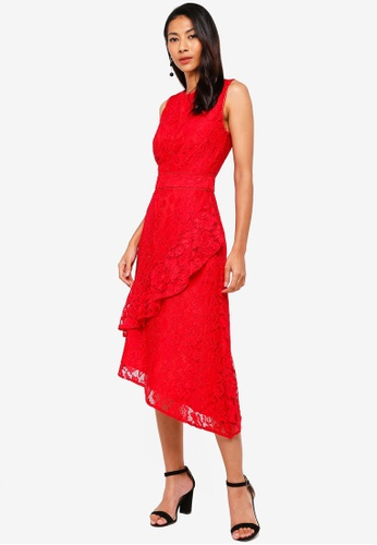 WAREHOUSE red Lace Wrap Midi Dress 31F68AA45457ACGS_1