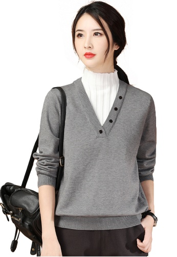 A-IN GIRLS grey and white Temperament Fake Two High Neck Sweaters FCDFBAA93797B5GS_1