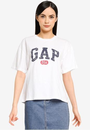 GAP 白色 Americana 短袖T恤 EF200AA2C4A8B4GS_1