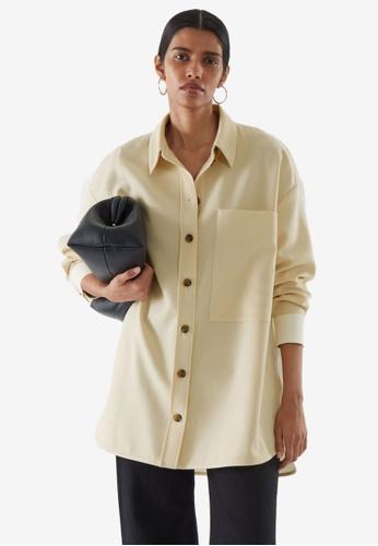 COS beige Contrast Panel Shirt BADD9AA2F23862GS_1