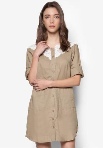 蕾絲拼接七分袖連身esprit outlet 台中裙, 服飾, 洋裝