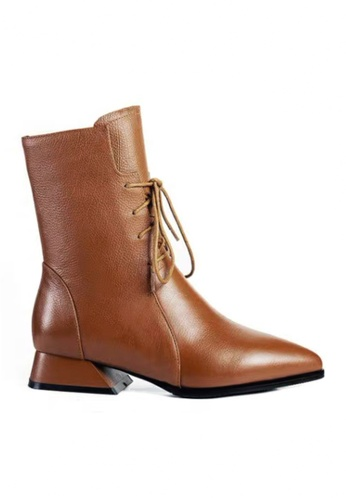 Twenty Eight Shoes brown Pointed Toe Lace Up Mid Boots VB269 D82A3SH1B412B5GS_1