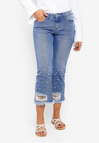 ZALORA blue Pearl Hem Distressed Jeans 69CBBAAF9B9965GS_1