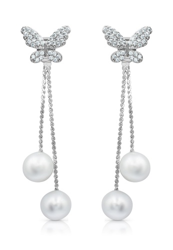 SO SEOUL white and silver Butterfly Detachable Hanging Chain Pearl Earring B61BBACC7F39FBGS_1