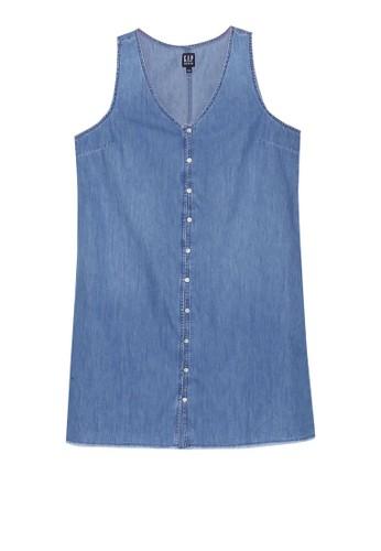GAP blue Button Front Tank Dress CBC01AA6F2DF97GS_1
