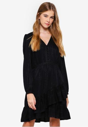 Forever New black Raven Metallic Frill Hem Dress 246A4AAA5A05E9GS_1