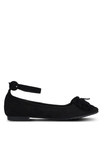 Something Borrowed black Pom Pom Ankle Flats 70742SHE3D8574GS_1