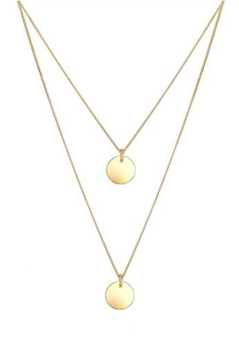 Elli Germany gold Perhiasan Wanita Perak Asli - Silver Kalung Layer Circle Trend Gold Plated EL948AC66XUNID_1