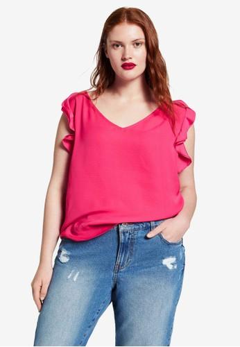 Violeta by MANGO pink Plus Size Flowy Ruffle Blouse B9659AAE0F9984GS_1