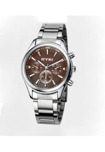 Eyki silver and brown Eyki Eet8581 Man Steel Watch (Silver Brown) EY078AC71ROMMY_1