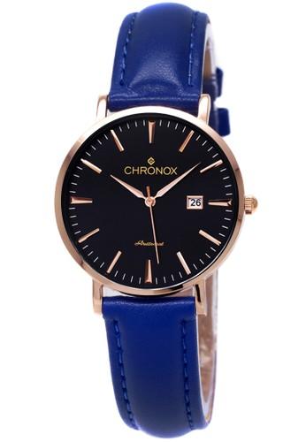 CHRONOX black and blue Chronox CX1002/A3  Hitam - Jam Tangan Wanita - Strap Kulit Biru Rosegold CH541AC06EWVID_1