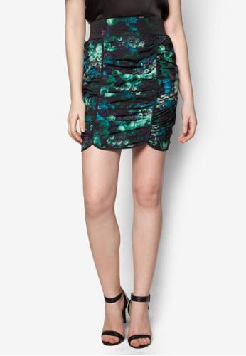 花卉圖案褶飾鉛zalora鞋筆短裙, 服飾, 及膝裙