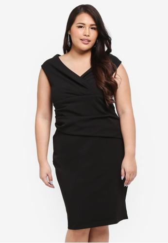 Goddiva black Plus Size Bardot Pleated Midi Dress 849A9AA5A97B4BGS_1