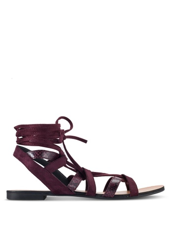 ZALORA red Multi Straps Lace Up Sandals D7B8CSHEEA8656GS_1