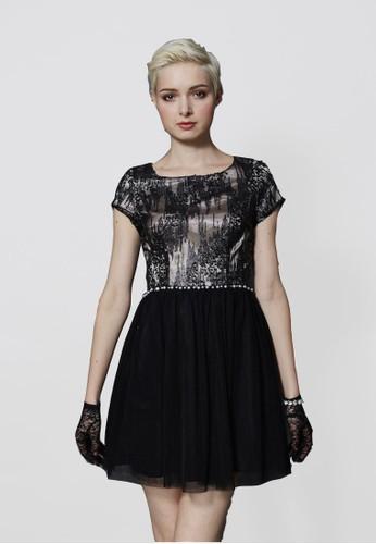 時尚都市Party亮片珍珠網紗小禮服, 服飾,esprit outlet 家樂福 派對洋裝