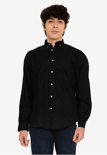 Springfield black Oxford Color Shirt 0829AAA1D317A7GS_1