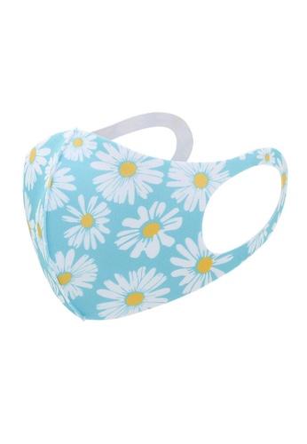 Glamorbit blue and multi Blue Daisy Reusable Printed Mask 95770ESFB759F0GS_1