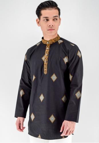 UA BOUTIQUE black Kurta Batik UAKLB05-011 (Black) DE5A1AAB93A62DGS_1