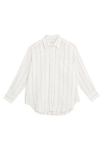 MARKS & SPENCER white M&S Pure Linen Striped Oversized Shirt 01B54AA44C09E0GS_1
