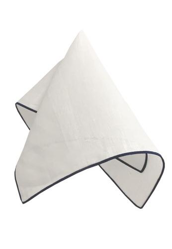 Caveman white Premium Navy Border Pocket Square F3999ACF68DC9EGS_1