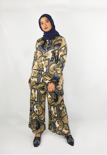 Zaryluq black and yellow and blue and gold and brown and beige and navy Baroque Pants - Dahlia 7B5ECAA8731087GS_1