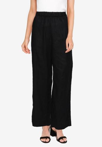 Banana Republic black Straight Linen Pull On Pants 23DE6AA6F62AEBGS_1