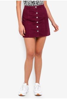 f3aa67075 Burgundy Button Through A-Line Denim Skirt BBBEFAA7FCFA46GS_1