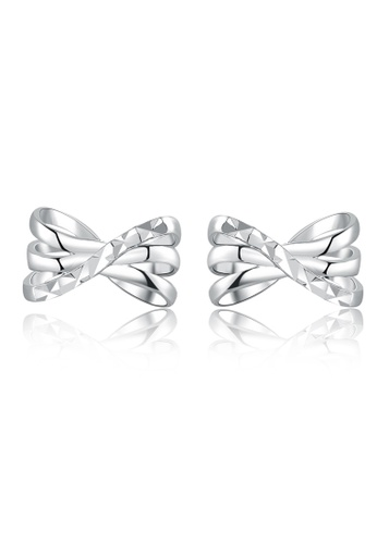 MaBelle silver 14K/585 White Color Gold Ribbon Earrings 396F7ACC313911GS_1